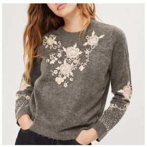 TopShop | Floral Bead Embellished Gray Sweater
